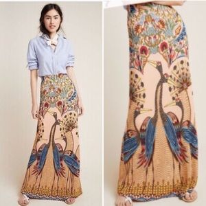 Anthropologie Farm Rio Long Peacock Skirt